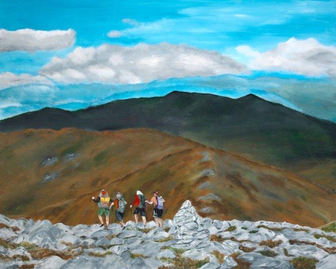 Artist and Friends Descending Mt. Washington by