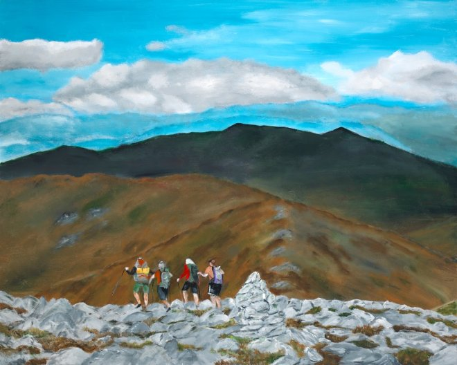 Artist and Friends Descending Mt. Washington by